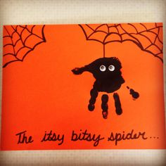 Itsy-Bitsy-Spider Easy Halloween Party Ideas For Kids Diy Halloween Crafts For Kids To Make Daycare Crafts, Classroom Crafts, Baby Crafts, Kids Crafts, Kids Diy, Fall Toddler Crafts, Fall Art For Toddlers, Infant Crafts, Infant Art Projects