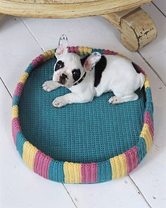 Crochet Plush Pet Pad - I love this dog I sooo want one! Crochet Home, Love Crochet, Crochet Crafts, Crochet Yarn, Crochet Projects, Pet Beds, Dog Bed, Crochet Dog Sweater, Dog Sweaters