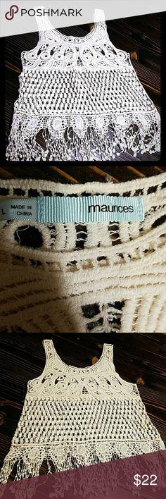 Boho crochet tank size l NWOT never worn. Maurices Tops
