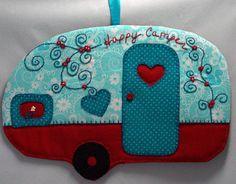 Happy Camper 21 Mug Rug by QuiltinCats on Etsy, $12.00  vintage trailer glamping retro camper decor