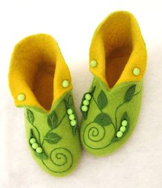 High felted slippers Peas by InnaGanke on Etsy, $75.00