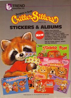 Stickers were another great joy in my childhood. When I see a scratch n' sniff sticker, particularly the round ones, I still fee. My Childhood Memories, Childhood Toys, Critter Sitters, Cool Books, 80s Kids, The Good Old Days, Growing Up, Nostalgia, Stickers