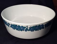 Centura EVENING SONG Round Vegetable Serving Bowl Blue Floral on white Dinnerware by libertyhallgirl on Etsy $19.99