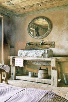 Unusual bath in a bedroom.