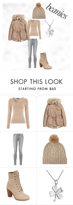 """""""Winter Look"""" by panda-cub ❤ liked on Polyvore featuring 7 For All Mankind, Sofia Cashmere, Timberland, Jennifer Meyer Jewelry and beanies"""