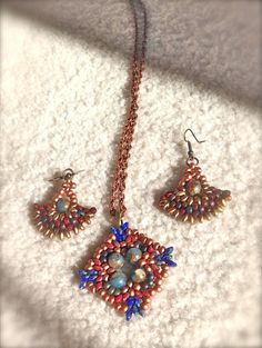 women necklace set with earrings handmade beaded by fatash1