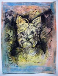 Yorkie Love- original mixed media drawing. $75.00, via Etsy.