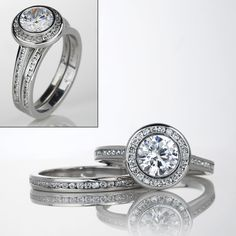 The Savannah Diamond Engagement Ring and Matching Diamond Band fit perfectly together