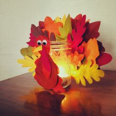 #DIY #turkey jar craft with paper leaves for #Thanksgiving