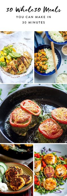 These recipes go from fridge to table in less than 30 minutes. paleo lunch whole 30 Paleo Dinner, Healthy Dinner Recipes, Paleo Recipes, Whole Food Recipes, Paleo Meals, Paleo Food, 30 Min Meals Healthy, Food Food, Cheap Healthy Dinners