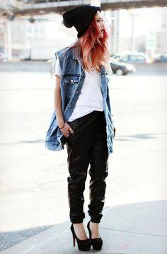 T-shirt- Twice Lux  Vest- Miss Kl  Heels- Modekungen  Pants- She Inside  Beanie- Asos