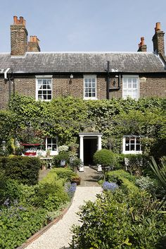 A gravel path leads between the flowerbeds to the front door of this typical London cottage which is covered in Hobelia and ivy.