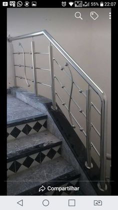 Resciption design Steel Railing Design, Staircase Railing Design, Modern Stair Railing, Home Stairs Design, Balcony Railing Design, House Gate Design, Iron Stair Railing, Door Gate Design, Railing Ideas