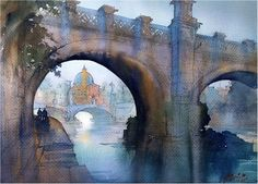 Twilight on the Tiber - Rome Thomas W Schaller - Watercolor 15x22 inches 25 February 2016