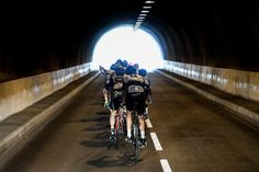 The peloton rides through a tunnel during stage 18 at the Tour de France