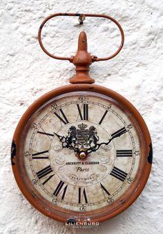 Uhr Wanduhr Taschenuhr antik braun Nostalgie Retro Metall groß Design Shabby TGW