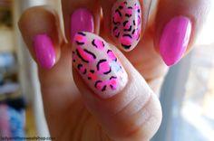 Hot pink leapord print nails