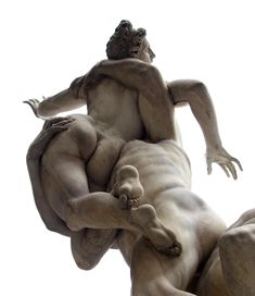 Ratto delle Sabine (1579–1583) by Giambologna. The sculpture depicts three figures (a man lifting a woman into the air while a second man crouches) and was carved from a single block of marble. This sculpture is considered Giambologna's masterpiece.