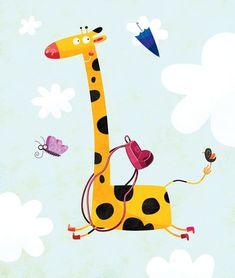 I am I on Illustration Served Cute Animal Illustration, Children's Book Illustration, Animals For Kids, Cute Animals, Photographie Portrait Inspiration, Giraffe Art, Nursery Art, Cute Cartoon, Cute Art