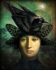 Surealisme and Fantasy Digital Painting karya Christian Schloe Magritte, Pop Surrealism, Raven King, Raven Queen, Images Vintage, Wassily Kandinsky, Surreal Art, Bird Art, Pop Art