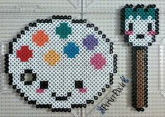 Kawaii Palette and Paint Brush by PerlerPixie