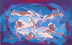 Oscar Howe print Antelopes in Flight