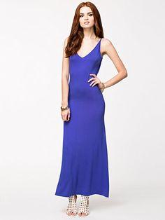 Slinky Long Dress - Glamorous - Cobalt Blue - Dresses - Clothing - Women - Nelly.com