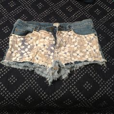 RVCA floral patterned denim shorts Size 28 but run small, RVCA floral patterned shorts denim RVCA Shorts Jean Shorts