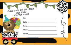 Free Printable Birthday Invitations for Boys.  Cute jungle theme.