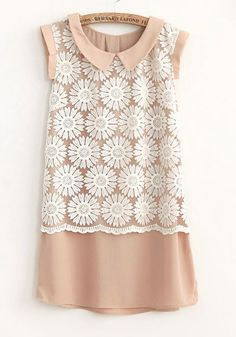 Nude Flowers Turndown Collar Above Knee Chiffon Dress Lace Chiffon, Chiffon Dress, Lace Dress, Girl Outfits, Cute Outfits, Diy Dress, Comfortable Fashion, Dress Me Up, Modcloth