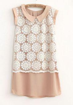 Nude Flower Lace Chiffon Dress