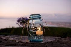 floating candle in mason jar