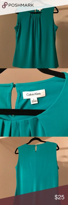 """Blouse Beautiful green, but not """"too green.""""  95% poly, 5% spandex blend, very comfortable and a bit dressy. Calvin Klein Tops Blouses"""