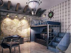 интерьер комнаты для подростка в стиле путешествий - Поиск в Google