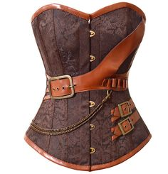 Cheap corsets and bustiers, Buy Quality brocade corset directly from China steampunk corset Suppliers: Plus Steampunk Corset Overbust Gothic Women Brown Brocade Corsets And Bustiers Slimming Waist Trainer Bustier Corselet Corset Sexy, Corset Bustier, Waist Cincher Corset, Overbust Corset, Bustier Top, Corset Tops, Boned Corsets, Strapless Corset, Moda Steampunk