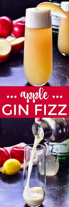The Gin Fizz is a classic New Orleans cocktail, and this apple version is perfect for fall. A delicious combination of sweet apple cider, fresh lemon juice and gin with a touch of fizz and a frothy top, it's a fun, easy cocktail that's just in time for your next fall gathering! Cocktail And Mocktail, Cocktail Recipes, Drink Recipes, Yummy Recipes, Cookie Recipes, Vegan Recipes, Dessert Recipes, Yummy Food, Party Food And Drinks