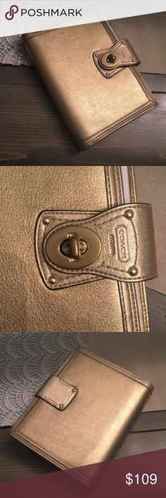 Gold Coach Leather Planner with Notepad EUC  Signs of wear are only on the corners (see pics) otherwise amazing condition.  Refills sold at Coach store online Gold leather  Comes with coach notepad inside (only a few sheets used, no writing otherwise)  All reasonable offers entertained Size 6x8 and refills sold online for this size.  New - $275 for Planner Coach Other