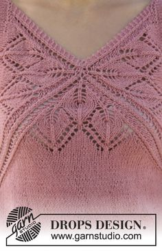 """Knitted DROPS top with lace pattern and V-neck in """"Belle"""". Size: S - XXXL. Ladies Cardigan Knitting Patterns, Knitting Paterns, Christmas Knitting Patterns, Knitting Charts, Afghan Crochet Patterns, Knitting Designs, Free Knitting, Drops Design, Drops Patterns"""