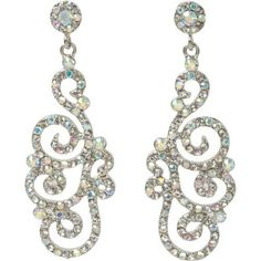Heirloom Finds Stunning Swirl Drop Earrings of Aurora Borealis Crystals in Silver Tone, http://www.amazon.com dirsh $16