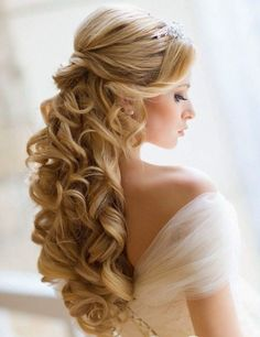 schicke brautfrisur lange haare halboffen wellen blond (How To Make Curls Fast) Wedding Hair Down, Wedding Hair And Makeup, Hair Makeup, Wedding Curls, Wedding Bride, Wedding Ceremony, Princess Wedding, Makeup Hairstyle, Gold Wedding