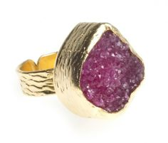 Amazon.com: 24K Yellow Gold Plated Drusy Quartz Natural Stone Black Adjustable Ring: Bahar Erdim: Jewelry