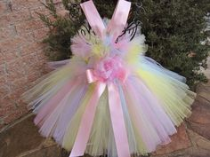Tutu Dress, TINY PASTEL RAINBOW,  Bit of Fluff at Waist and Top, for Babies 3-24 Months via Etsy