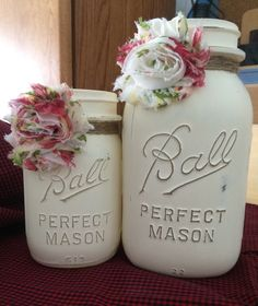 A personal favorite from my Etsy shop https://www.etsy.com/listing/263704422/antique-vintage-chalk-painted-mason-jars