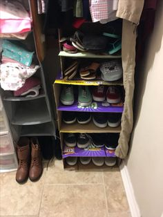 "Took 2 big boxes of diapers and 1 box of wipes and build a ""shoe rack"" i left it bare. But you can cover it. Made the Shelves from the Boxes Wings. It works Great!"