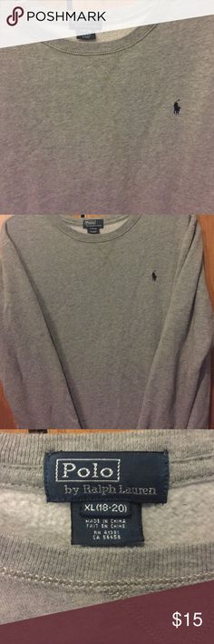 Polo crew neck Polo by Ralph Lauren crew neck. Grey. Boys XL(18-20). Worn twice. Great condition. Polo by Ralph Lauren Sweaters Crew & Scoop Necks