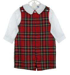 NEW Bailey Boys Red Tartan Plaid Shortall with Matching White Shirt $75.00
