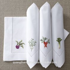 Use these hand-embroidered From the Garden Napkins for all occasions. Herb Embroidery, Embroidery Stitches, Embroidery Patterns, Machine Embroidery, Monogrammed Napkins, Personalized Napkins, Linen Napkins, Brazilian Embroidery, Linens And Lace