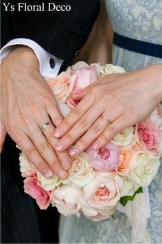 白ピンクのバラブーケ  @ジャルダンドルセーヌ館  ys floral deco