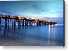 Early morning light and still tranquil waters comes to Flagler Beach Pier on the Atlantic Coast, Florida.  by Carol R Montoya Fine Art Photography