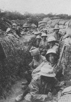 Royal Irish Fusiliers hunkered down in trenches at Gallipoli